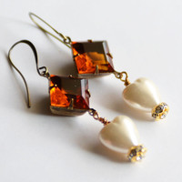 Art Deco Topaz Stone and Pearl Heart Earrings, Valentine's Day Gift for Wife, Art Deco Earrings, Pearl Earrings, Topaz Earrings, SRAJD