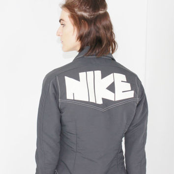 RARE nike pinwheel jacket 80s reprint of 70s collared button down retro nike logo novelty collectible small sm s
