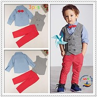 Children's suit sets autumn Boy's clothing set Kids clothes set cotton long-sleeve shirts+vest+trousers+bow tie