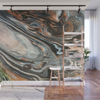 Copper and Stone Wall Mural by duckyb