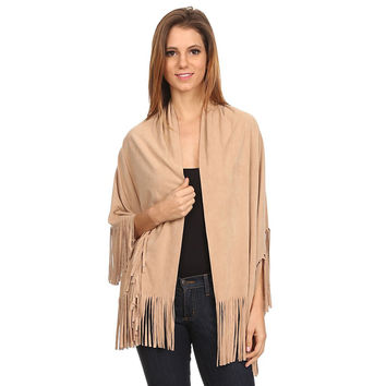 Womens Faux Suede Shawl Wrap with Fringe