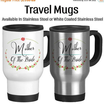 Travel Mug, Mother Of The Bride Floral Wreath Pink Flowers Wedding Party Gifts Design Coffee, Gift Idea, Stainless Steel 14 oz