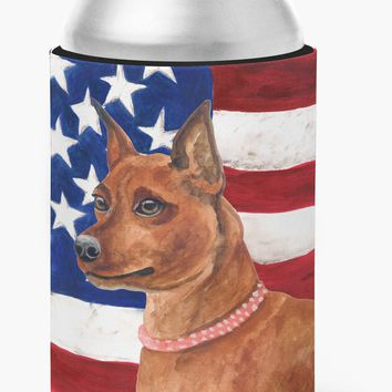 Miniature Pinscher Patriotic Can or Bottle Hugger BB9656CC