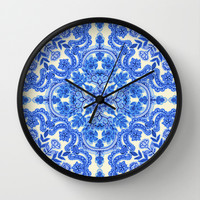 Cobalt Blue & China White Folk Art Pattern Wall Clock by micklyn