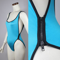 80s-90s - Turquoise Blue - Black Side Zippers - Open Sides - Open Back Swimsuit
