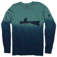 Up a Creek Bear in a Canoe Dip-Dye long sleeve graphic tee