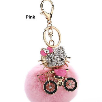 Crystal Cat Key Chain w Artificial Rabbit Fur Ball for Purse or Wallet