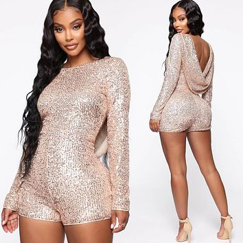 Long Sleeves Sequin Backless Rompers