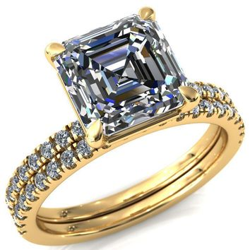 Alessandra Asscher Moissanite 4 Claw Prong Diamond Accent Engagement Ring