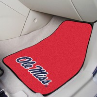Univ of Mississippi Ole Miss Rebels Car Mats Set - 2-Pc Carpeted Universal Fit
