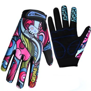 Qepae Shockproof Cycling Gloves Full Finger Gloves Fitness Men Women Skid Bike Outdoor Sports Warm Gloves Color Screen