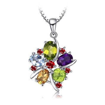 Jewelry Flower Multicolor 3.1ct Natural Amethyst Garnet Peridot Citrine Blue Topaz Pendant Necklace 925 Sterling Silver 18
