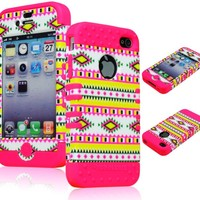 BasTexWireless Bastex Hybrid 2in1 Rocker Case for Apple iPhone 4, 4s - Hot Pink Silicone with Hard Colorful Neon Tribal Design