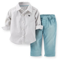 2-Piece Poplin Top & Twill Pant Set