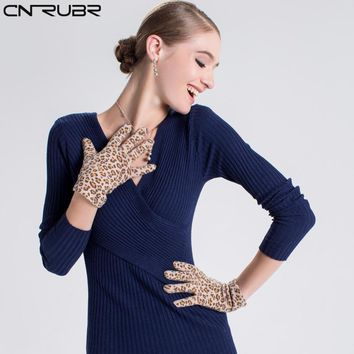 CNRUBR Women Autumn Winter Full Finger Gloves Leopard Print  Casual Sexy Gloves Fashion Wool Soft Warm Accessories for Lady