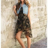 CAMO HI-LOW TUBE DRESS