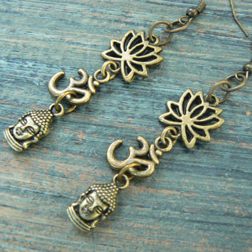 yoga earrings buddha lotus flower ohm om meditation Indie Zen New age Namaste  in gypsy hippie hipster yoga belly dancer  style