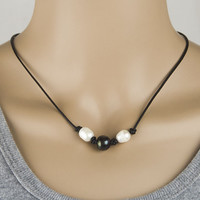 3 Pearl and Leather Necklace Choker + Free Christmas Gift Random Necklace = 2Pcs Necklace + Gift Box