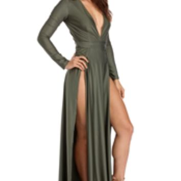 Desiree Olive Double Slit Dress