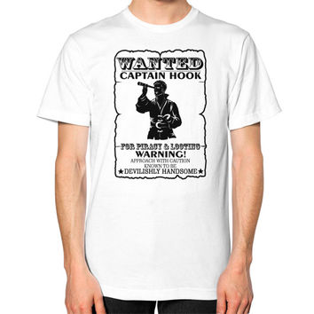 WANTED CAPTAIN HOOK Unisex T-Shirt (on man)