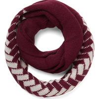 ModCloth Boho See the Sprig Picture Circle Scarf in Merlot Tile