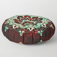 Glowing Soul Mandala Floor Pillow by inspiredimages