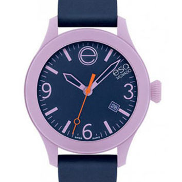 ESQ Movado One Date Watch - Blue Dial with Silicone Strap - Lavender Case