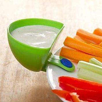 4 Mini Side Bowl Dip Clip On Plate Bright Color Fun Meal Kids Design Dressing