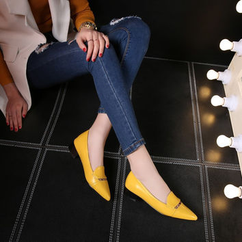 Pointed Toe Loafers Low Chunky Heels Pumps 7585