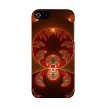 Luminous abstract modern orange red Fractal Metallic Phone Case For iPhone SE/5/5s