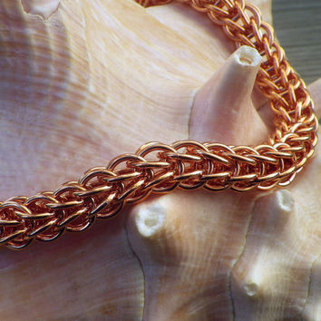 Hand-made Full Persian Copper Chain Maille Bracelet