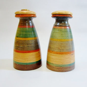 Vintage Pepper Mill Grinder Salt Shaker COLORED STRIPES Wood Mr Dudley