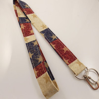 USA Lanyard Patriotic Lanyard Teacher Lanyard Folk Art USA Key Ring American Lanyard Stars and Stripes Nurse Lanyard Flag Lanyard