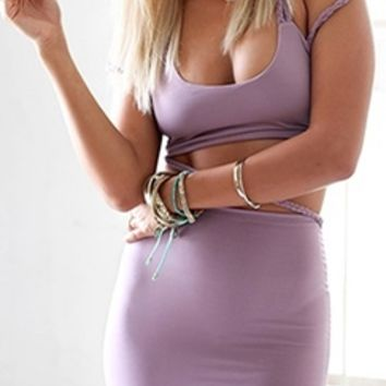 Share This Light Purple Lavender Braided Crisscross Spaghetti Strap Scoop Neck Crop Top Bodycon Two Piece Mini Dress