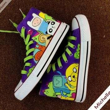 Customize Purple Converse Custom Hand Painted Shoes, High Top Converse Shoes,Custom Co