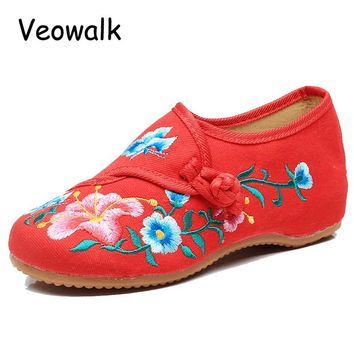 Veowalk Morning glory Cloth Shoes Chinese Style Totem Flats Mary Janes Embroidery Casual Women Shoes Women Flats Plus Size 41