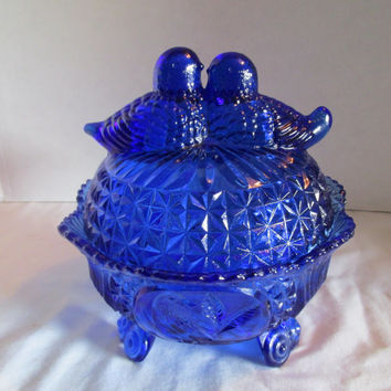 Cobalt blue candy dish, 2 love birds sit on the lid, Indiana ? pressed glass, footed
