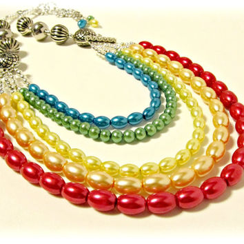 Rainbow Pearls Layered Necklace - Red, Orange, Yellow, Green, Blue - Spring, Summer, Prom Jewelry, Statement Necklace