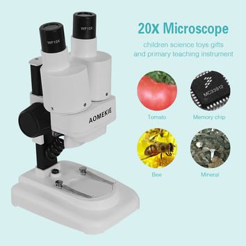 20X LED Binocular Stereo Microscope PCB Solder Tool Insect Plant Watch Students Science Educational Microscope Kids Gift AOMEKIE