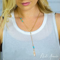 Drop Feather Necklace (Turquoise)