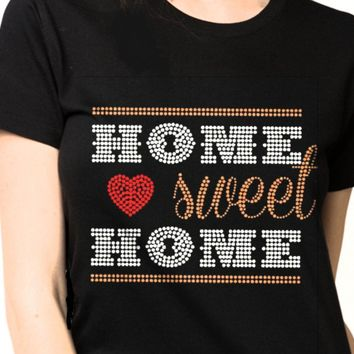 Bling  Women-Home-Sweet-Home-Rhinestones-SHIRT Shop 🏠