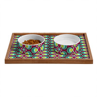 Raven Jumpo Ikat Latice Green Pet Bowl and Tray