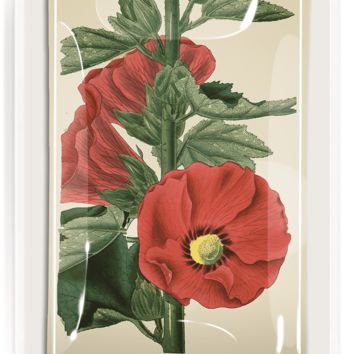 Red Hollyhock Flower Decoupage Glass Tray
