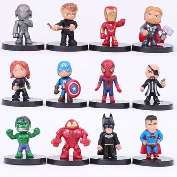 12pcs/lot The Avengers 2 Miniatures Marvel PVC Action Figures Spiderman Anime Figure Figurines Kids Toys for Boys Girls Gift