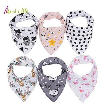 Muslin life New Arrival 4pcs/lot Infant Newborn Baby Bibs,Burp Cloth,CottonBaby Bandana Bibs