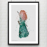 Princess Merida Disney Watercolor Print, Children's Room Wall Art Poster, Minimalist Home Decor, Not Framed, Buy 2 Get 1 Free! [No. 37]