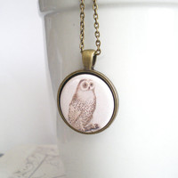 Owl Pendant Necklace Bird Jewelry Gifts for Bird Lover Gifts Under 15 Barn Owl