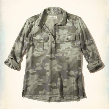 Girls Military Popover Shirt | Girls Tops | HollisterCo.com
