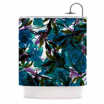 "Ebi Emporium ""Floral Fiesta Teal"" Watercolor Pattern Shower Curtain"