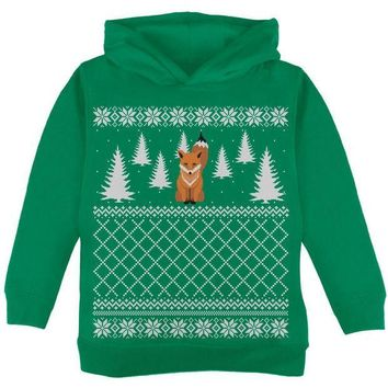 CREYCY8 Fox Ugly Christmas Sweater Green Toddler Hoodie